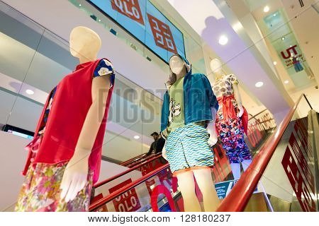 CHICAGO, IL - APRIL 01, 2016: inside of Uniqlo store. Uniqlo Co., Ltd. is a Japanese casual wear designer, manufacturer and retailer.