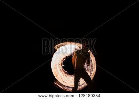 Man Fire Show on the beach of Koh Samui Thailand