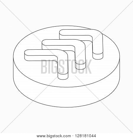 Triple modern arrow icon on round pad in isometric 3d style isolated on white background