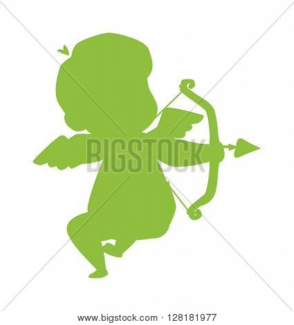 Silhouette of cupid valentine angel vector illustration.