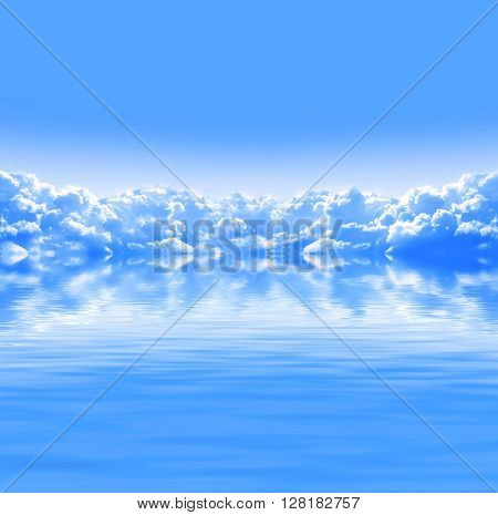 Nature background with white clouds in blue sky and tranquil water surface