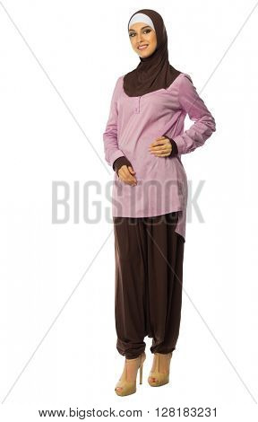 Young muslim woman in traditionel clothes isolated