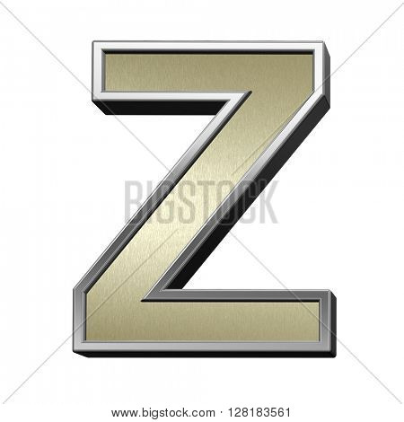 One letter from brushed gold with shiny silver frame alphabet set, isolated on white. 3D illustration.