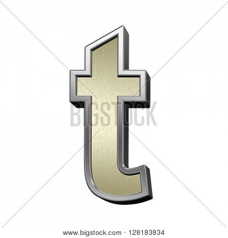One lower case letter from brushed gold with shiny silver frame alphabet set, isolated on white. 3D illustration.