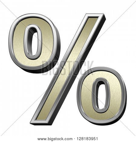 Percent sign from brushed gold with shiny silver frame alphabet set, isolated on white. 3D illustration.