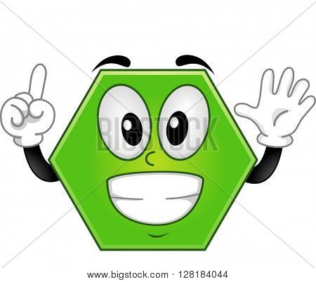 Mascot Illustration of a Hexagon Showing Six Fingers