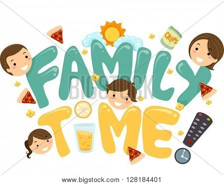 Illustration of a Family TV Time Lettering