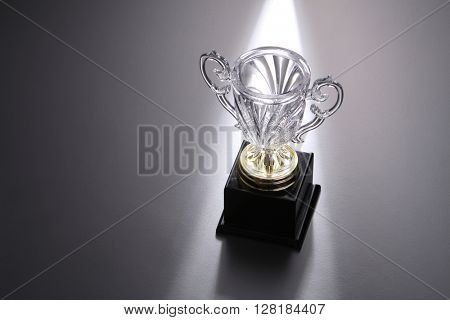 crystal trophy on the gray background