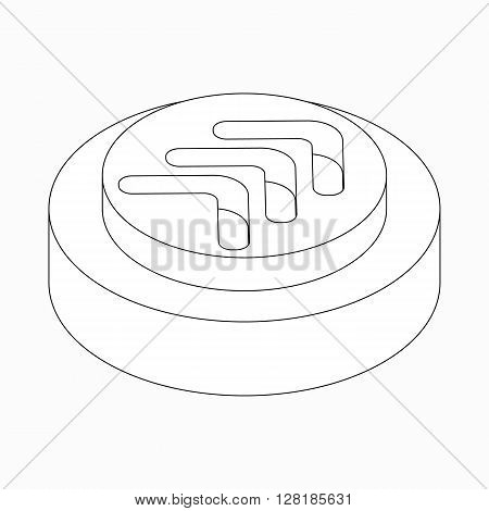 Exclusion triple modern arrow icon on round pad in isometric 3d style isolated on white background