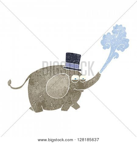 freehand retro cartoon elephant squirting water