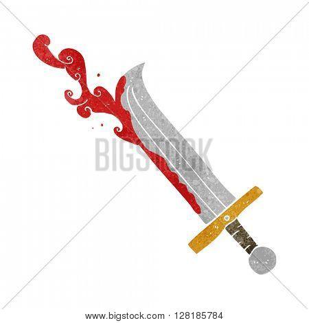 freehand retro cartoon bloody sword
