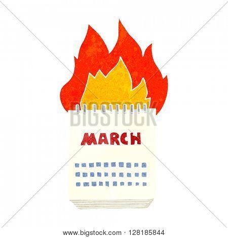 freehand retro cartoon march calendar