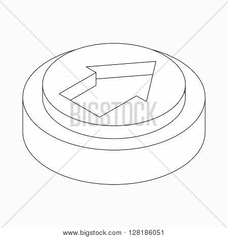Exclusion wide classic arrow icon on round pad in isometric 3d style isolated on white background