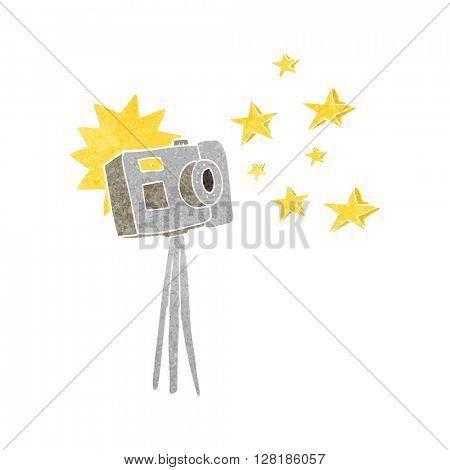 freehand retro cartoon camera on tripod with flash