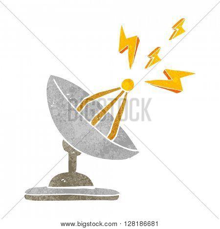 freehand retro cartoon satellite dish