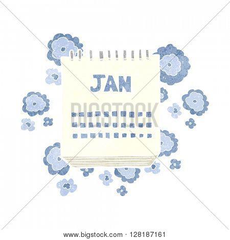freehand retro cartoon calendar showing month of january