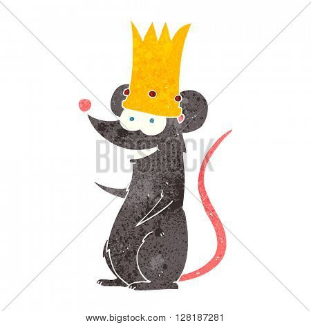 freehand retro cartoon rat king