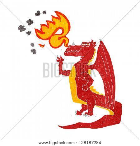freehand retro cartoon happy dragon breathing fire