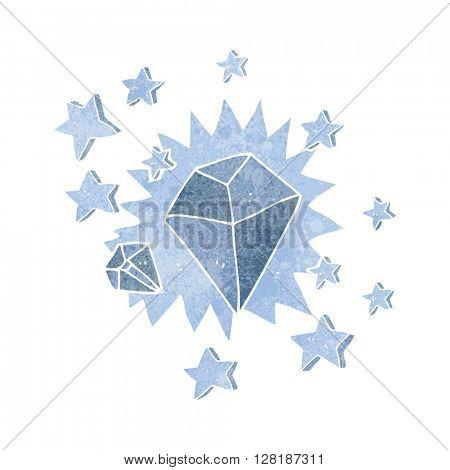 freehand retro cartoon sparkling diamond