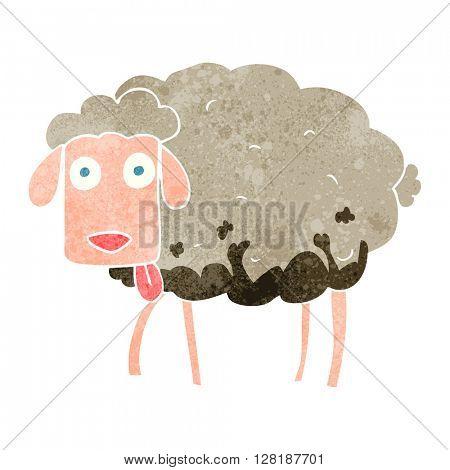 freehand retro cartoon muddy sheep