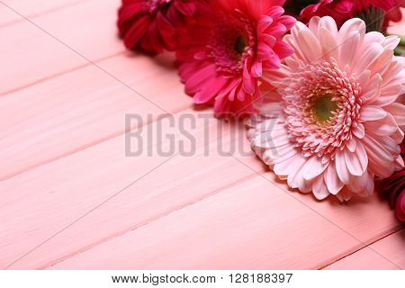 Bouquet of fresh gerbers on pink wooden background