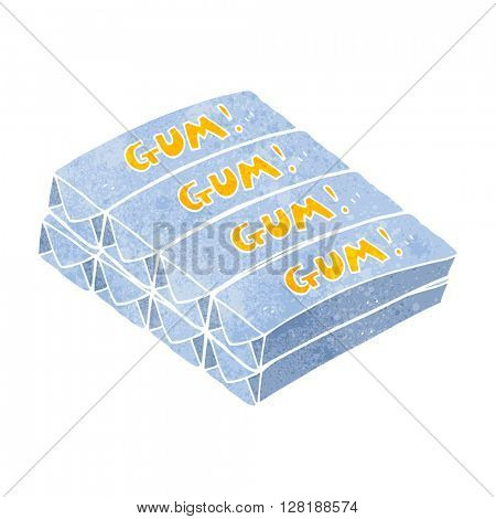 freehand retro cartoon chewing gum