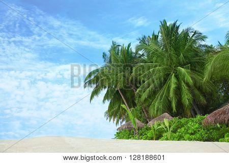 Tropical beach and blue sky.