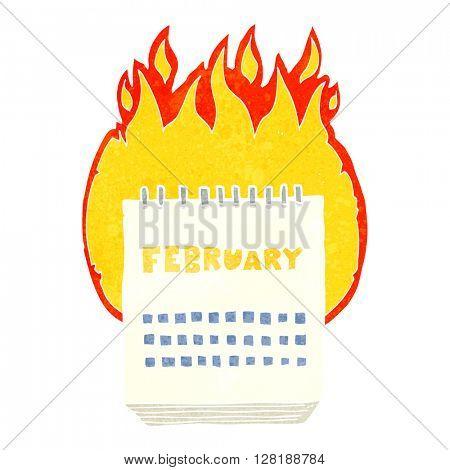 freehand retro cartoon calendar showing month of february
