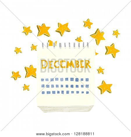 freehand retro cartoon calendar showing month of December