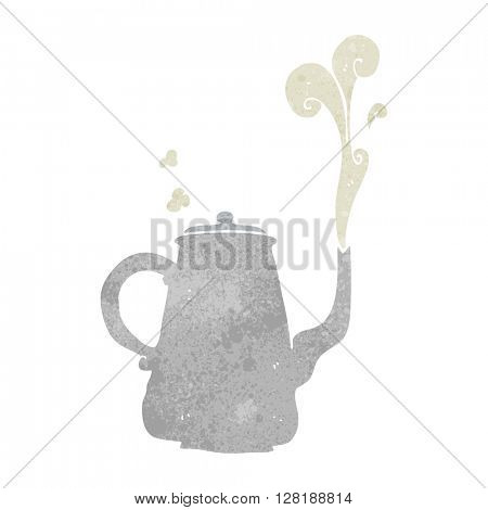 freehand retro cartoon steaming  coffee pot