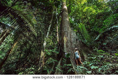 Lady standing near bit tree in park