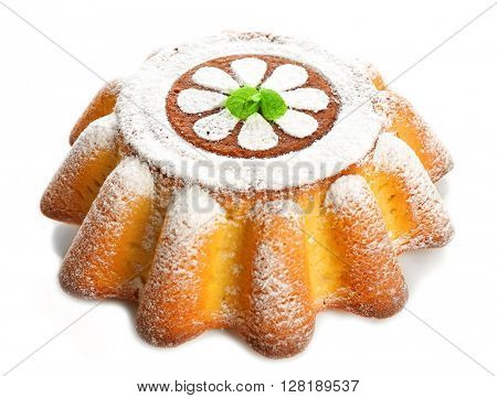 Delicious citrus cake with powdered sugar. on white background