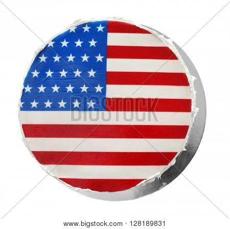 American flag cake, isolated on white background