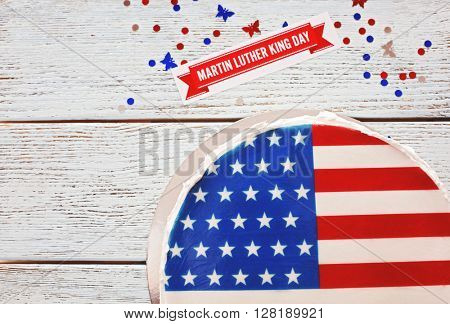 American flag cake, on wooden background. Martin Luther King day concept.