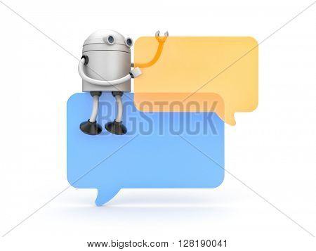 Robot with speech bubbles. 3d illustration