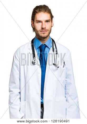 Portrait of a smiling handsome doctor isolated on white