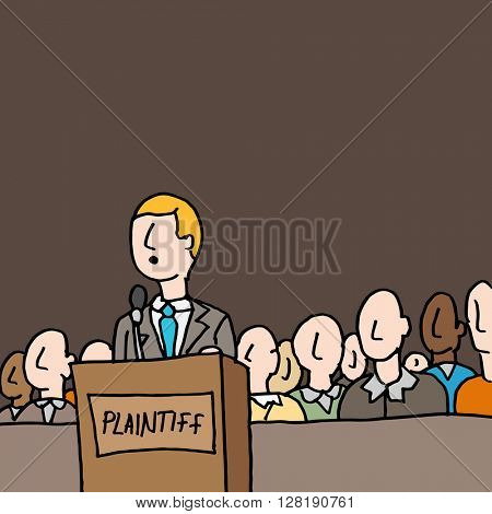 An image of a plaintive standing by jury in court.