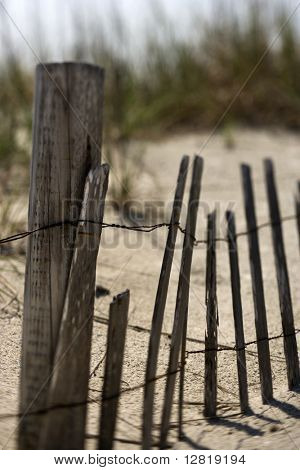 Weathered fence on sand dune on Bald Head Island, North Carolina.