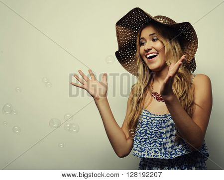 woman in  straw summer hat
