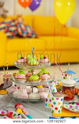 Colorful dessert table for child birthday