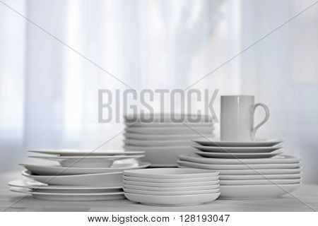 Set of dishes for breakfast