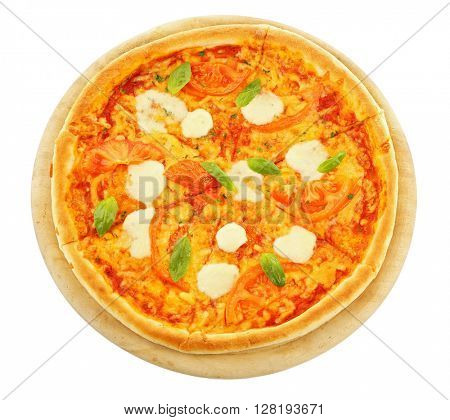 Margherita pizza, isolated on white
