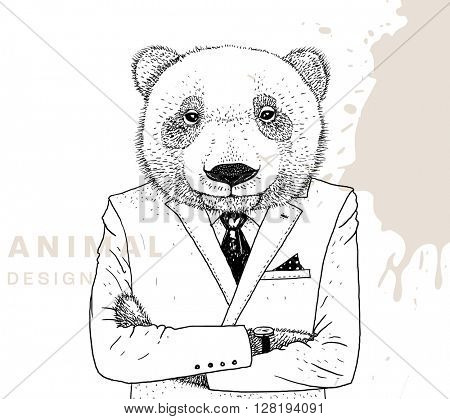 Hand Drawn Bear. Vector Graphic Illustration. Business Man