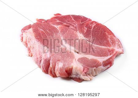 Piece of pork meat, isolated  white