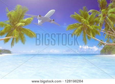 Airplane Flying Tropical Beach Concept