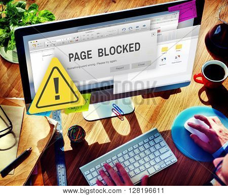 Page Blocked Browsing Connection Data Failure Concept