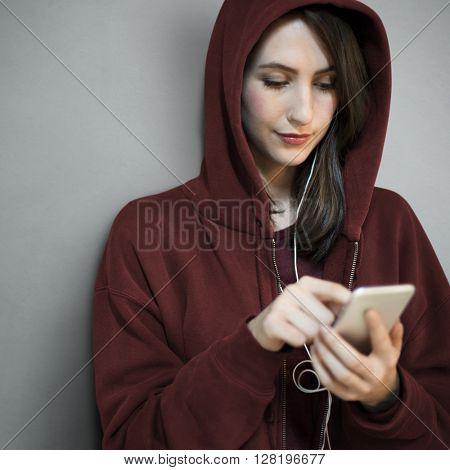 Girl Hoodie Listening Music Phone Concept