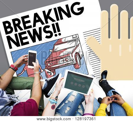 Breaking News Annouce Article Information Concept