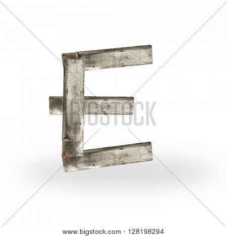 Wooden letter E on white