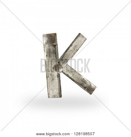 Wooden letter K on white